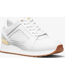 mk sneaker billie in pelle e tessuto - bianco ottico (bianco) - michael kors