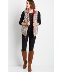 maurices womens leopard reversible sherpa zip up vest red