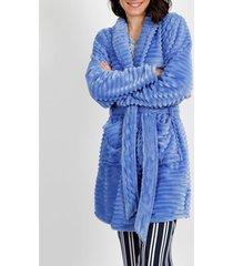 pyjama's / nachthemden admas elegante stripes fleece dressing gown blauw adma's