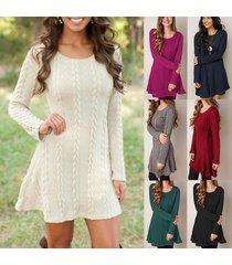 women casual long sleeve plus thicken slim knit sweater dress autumn winter long