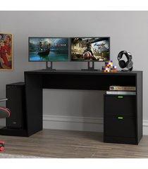 mesa gamer infinity para 2 monitores com 2 gavetas preto - pnr móveis