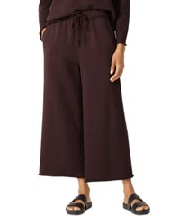 eileen fisher solid wide-leg drawstring-waist cropped pants