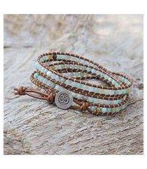 quartz beaded wrap bracelet, 'calm touch' (thailand)