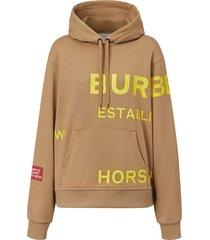burberry horseferry logo print hoodie - brown