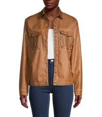 max studio women's faux leather jacket - cognac - size s
