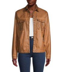 max studio women's faux leather jacket - cognac - size xl