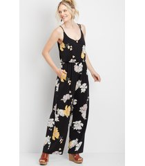 maurices womens floral tortoise ring pocket jumpsuit