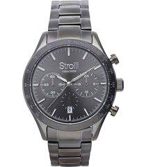 orologio cronografo detroit con cinturino in acciaio cassa in acciaio grigio per uomo