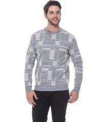 suéter slim jacquard passion tricot drew cinza - kanui