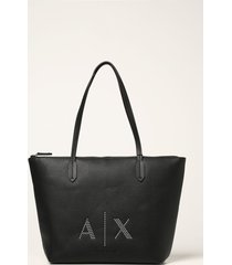 armani collezioni armani exchange tote bags armani exchange shoulder bag in textured synthetic leather