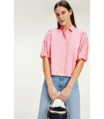 tommy hilfiger women's cropped cotton shirt washed watermelon pink - 8