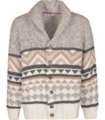 brunello cucinelli oversize patterned cardigan