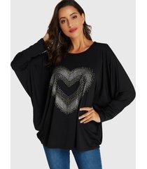 yoins blusa con mangas de murciélago adornadas con pedrería negra