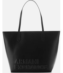 armani exchange women's maddie debossed logo tote bag - black