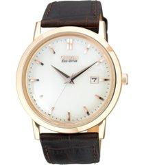 citizen men's eco-drive brown leather strap watch 40mm bm7193-07b