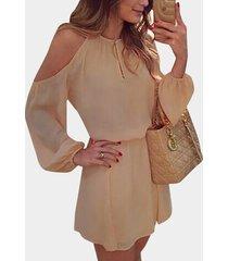 beige cold shoulder long sleeves cotton dress with open back design