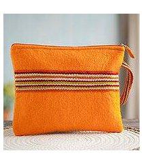 100% alpaca wristlet, 'peruvian stripes in tangerine' (peru)