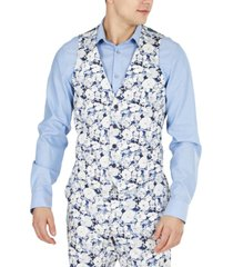 bar iii men's slim-fit floral suit separate vest, created for macy's
