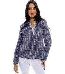 camisa listrada sob manga longa em algodão feminina