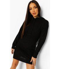 tall gebreide met capuchon sweatshirt jurk, black