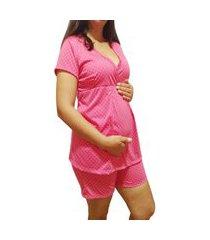 pijama grávida short doll linda gestante manga curta pós parto
