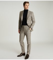 reiss buster - wool checked slim fit trousers in grey, mens, size 38