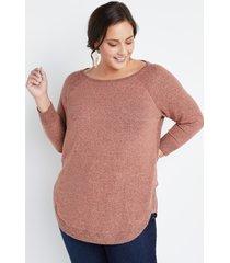 maurices plus size womens haven cozy pink crew neck sweatshirt