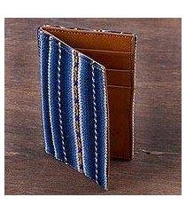 leather accent wool blend card holder, 'piura palette' (peru)