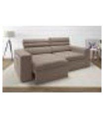 sofá 4 lugares net treviso assento retrátil e reclinável bege 2,30m (l)
