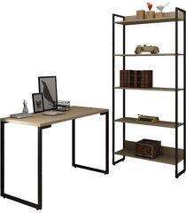 conjunto escritã³rio mesa escrivaninha 120cm e estante 5 prateleiras estilo industrial new port f02 nature - mpozenato - marrom - dafiti