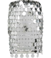 paco rabanne short sequined skirt - silver