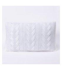 capa de almofada tricot 50x30 c/zíper sofa trico cod 106530 branco