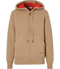 burberry embroidered-logo cashmere hoodie - neutrals