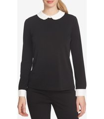cece colorblocked peter pan-collar blouse