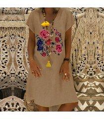 zanzea para mujer floral de manga corta con cuello en v floja ocasional camiseta larga de la playa del vestido -caqui