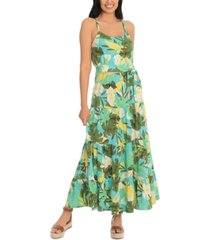 london times petite braided-straps tiered maxi dress