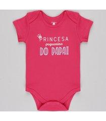 "body infantil ""princesa pequenina do papai"" manga curta rosa escuro"