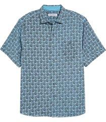 men's tommy bahama fine apple short sleeve button-up shirt, size x-large - blue