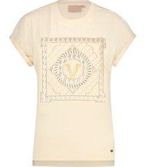 josh v t-shirt model dora multi v print kleur dark blush (jv-2001-0002)