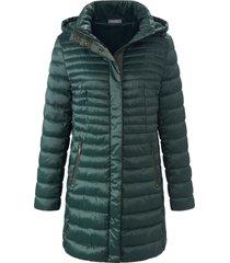 doorgestikte jas met staande kraag en capuchon van mybc groen