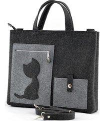 duża grafitowa torebka - laptopówka z kotem