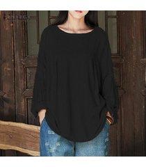 zanzea mujeres otoño breve sólido del cuello de o linterna de lino de algodón de manga camisa floja de la blusa holgada del tamaño suéter superior ocasional más negro -negro