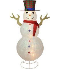 "northlight 72"" pre-lit glitter snowman with plaid top hat outdoor christmas decoration"