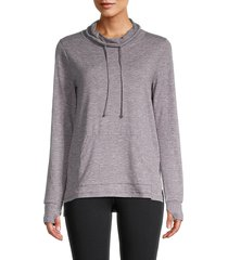 x by gottex women's funnelneck drawstring sweatshirt - shark heather - size xs