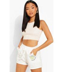 petite sweat shorts met opdruk, white