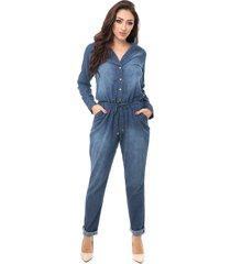 macacão pkd manga longa com botões jeans