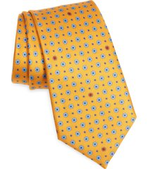 men's ermenegildo zegna dot silk tie, size one size - orange