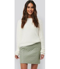 na-kd quilted pu skirt - green