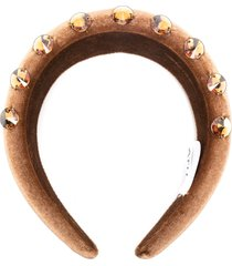 atu body couture embellished padded headband - brown