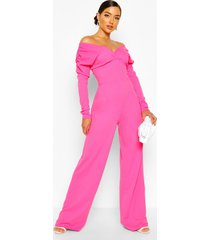 bardot ruched sleeve detail wide leg jumpsuit, candy pink